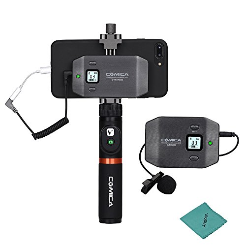 - comica CVM-WS50(A) 6-Channel UHF Wireless Smartphone Lavalier Microphone System 197ft Range with Phone Holder + Grip + Remote Control + Carry Bag for iPhone Samsung Huawei Vlogging Filming