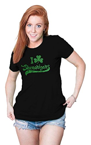 [Womens I Clover Shenanigans GLITTER T Shirt Cute Saint Patricks Day Shirts (black) XL] (Cute St Patricks Day)