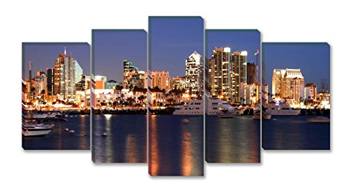 SmartWallArt - City Landscape Paintings Wall Art Decor Night Time in San Diego Ca Skyline 5 panels Picture Print on Canvas for Modern Home Decoration for $<!--$77.70-->