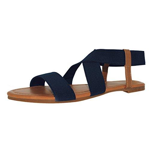 Sandals Strap Blue - Sandalup Women's Elastic Flat Sandals Navy Blue Size 10