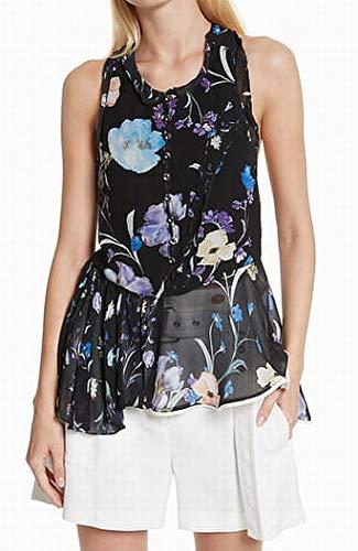 (3.1 Phillip Lim  Women Sleeveless Floral Print Tank Top Black 8)