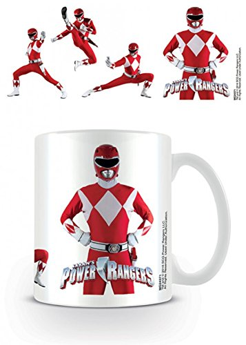 Set: Power Rangers, Classic Red Ranger Photo Coffee Mug (4x3 inches) And 1x 1art1 Surprise Sticker