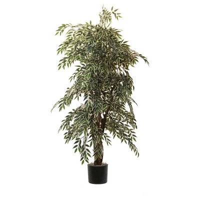 (Vickerman 6' Artificial Variegated Smilax Executive set in Black Pot)