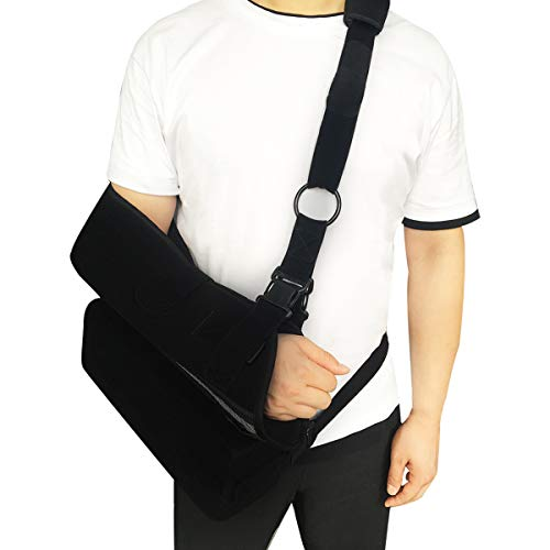 - High Medical Arm Sling Support Adjustable Elbow Shoulder Brace Strap, Rotator Cuff Full Soft Immobilize Shoulder Abduction Sling Included with Breathable Pillow by BenKen (High L)