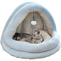 OOFAN Dog bed Square 2-en-1 Gato Tienda de la casa privada Sala Mascotas Cueva Cama para Gatos/de la litera del Gato Pequeño Perros con Estera + Manta + Juguete