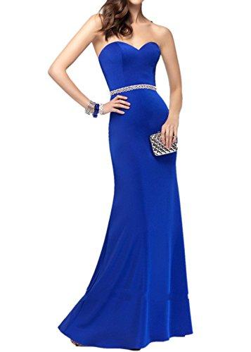 Festlich Blau Charmant Royal Abendkleider Royal Partykleider Ballkleider Chiffon Damen Lang Elegant Blau Spitze qqgZW8B