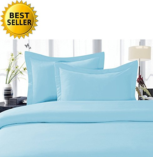 1000 Thread Count Three (3) Piece California King Size Blue Solid Duvet Cover Set, 100% Egyptian Cotton, Premium Hotel Quality