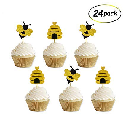 Glitter Bumble Bee Cake Toppers For Bee Baby Shower Birthday Gender