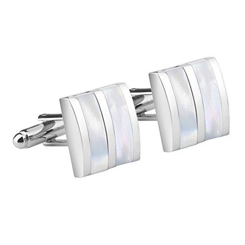Insten Cufflink , Silver/ White Jade Camber (New Black Paisley)