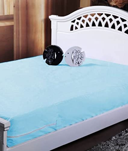 Homefab India Waterproof Solid 2 Piece Synthetic Single Protector for Mattresses - Blue