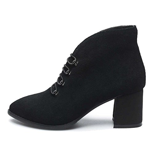 Verocara Mid Genuine Heel Toe Decoration C Almond Ankle Leather black Lace Chunky Women's Boots up Cow Shoes r4fq5zwr