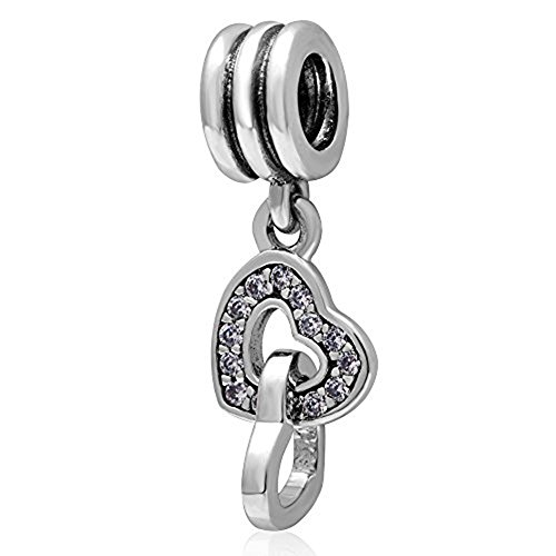 (925 Sterling Silver Beads Heart linked to Heart Dangle Charm fit Women Charms)