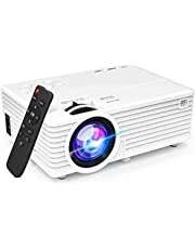 """$49 » Mini Video Projector with 6500 Brightness, 1080P Supported, Portable Outdoor Movie Projector, 176"""" Display Compatible with TV Stick, HDMI, USB, VGA, AV for Home Entertainment"""