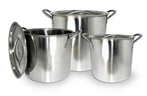 Excelsteel Set Of 3 Stainless Steel Stockpot With Lids