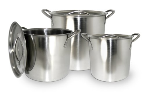ExcelSteel 570 Stainless Steel Stockpot with with Lids, Set of 3, 3 Piece, Silver (Pot Aluminum Kit Stock)