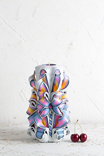 Mother's Day Gift Carved Candles - White Rainbow Decor for Mother - Christmas Basket - EveCandles