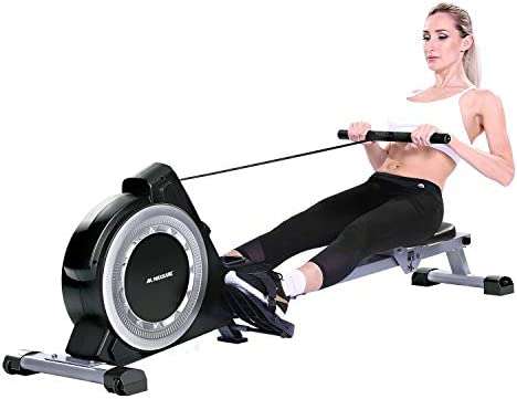 MaxKare Magnetic Rowing Machine Folding Exercise Rower 16-Level Tension Resistance Precise Display Panel