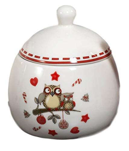 Paben Noel Barattolo portavivande biscottiera in Ceramica Smaltata Tema Gufetti Natale
