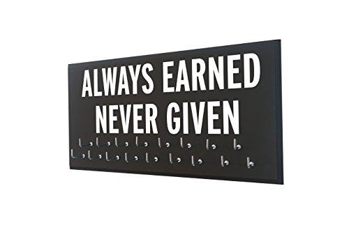 (Race bib Medal Display - Always Earned Never Given - Medal Holder - Medal Hanger - Medal Display Rack - Hooks Sport Medal - Athletic Gift Men - Running)