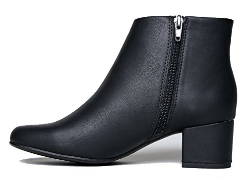 J. Adams Low Heel Ankle Boot - Casual Zip Up Bootie - Comfortable Everyday Round Toe Bootie - Jody by Black Pu*** g32hM