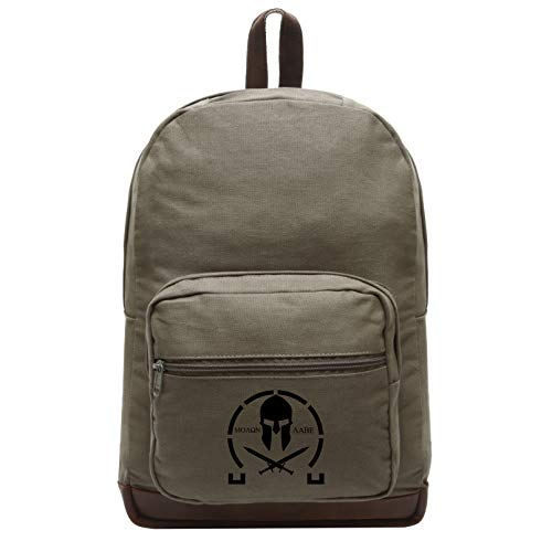 Molon Labe Spartan Crossed Swords Backpack with Leather Bottom, Olive & Bk