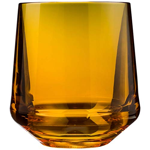 Drinique VIN-SW-AMB-4 Stemless Unbreakable Tritan Wine Glasses, 12 oz (Set of 4) Amber