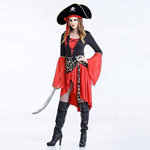 Mengjie Holloween Costume Pirate Costume Female Adult Ball Party Uniform, red, XL -