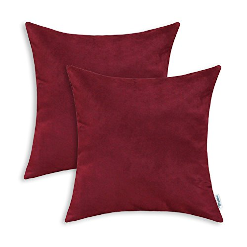 CaliTime Pack of 2 Cozy Throw Pillow Covers Cases for Couch Bed Sofa Super Soft Faux Suede Solid Color Both Sides 20 X 20 Inches Burgundy
