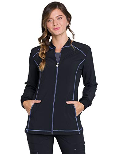 Cherokee Infinity CK380A Women's Zip Front Warm-Up Jacket Black - Front Cherokee Jacket Zip