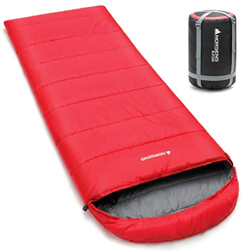 - NORSENS Hiking Camping Backpacking Sleeping Bag Lightweight/Ultralight Compact, 0 Degree Cold Weather Sleeping Bags for Adults (Red with 3.6lbs Filling)