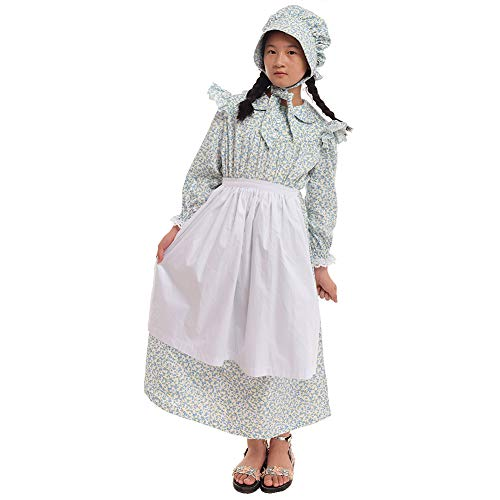 GRACEART Girls' American Pioneer Colonial Costume Prairie Dress 100% Cotton (Light -