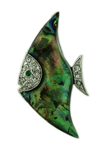 - Lilylin Designs Blue/Green Paua Shell with Crystals Angel Fish Brooch Pin