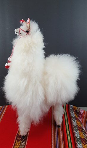 White Handmade Authentic Peruvian Llama Doll with Alpaca Fur