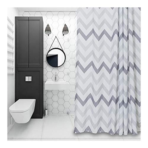 Aimjerry Chevron Fabric Shower Curtain Grey,White,Striped Mold Resistant 72 x 72,Geometric