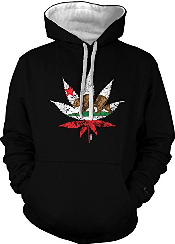 Cali Weed - California Flag - Marijuana Leaf Men's 2 Tone Hoodie Sweatshirt (3XL, BLACK / WHITE STRING)