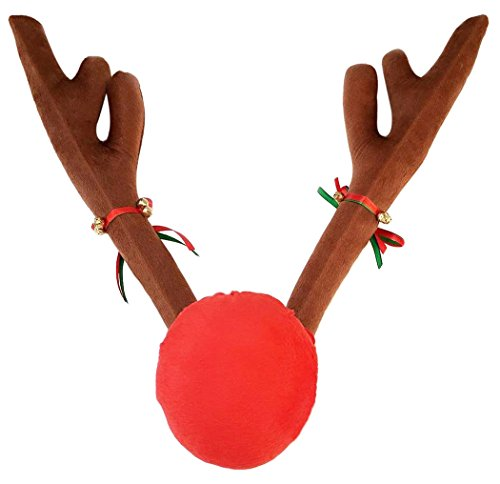 Christmas Auto Outfit Decorations,Funpa Reindeer Antlers and Red Nose Car Set for Xmas Decorations Festive Accessory ()