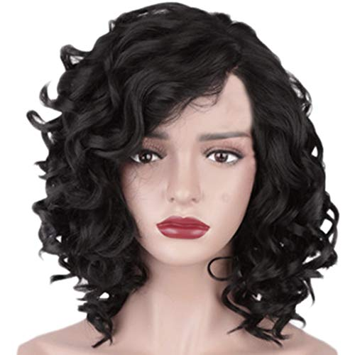 Wig Hair Sepia Synthetic (FORUU Wigs, 2019 Valentine's Day Surprise Best Gift For Girlfriend Lover Wife Party Under 5 Free delivery Fashion Synthetic Medium Long Curly Hair Black Hair Wig Natural Hair Wigs)