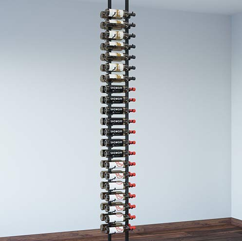 VintageView Floor-to-Ceiling Frames Series-Floating 42 Bottle Wall Mounted Wine Rack (Brushed Nickel) Stylish Modern Wine Storage with Label Forward Design