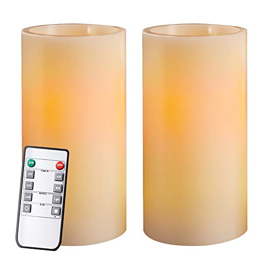 Homemory 7 Real Wax Flameless Battery Operated LED Candles, 2 PCS Amber Yellow Light Realistic Pillar Candles with Remote Control & Cycling 24-Hour Timer, Long Battery Life 300+ Hours