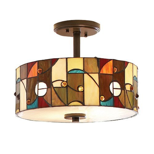- allen + roth 13-in Aztec Mission Bronze Opalescent Glass