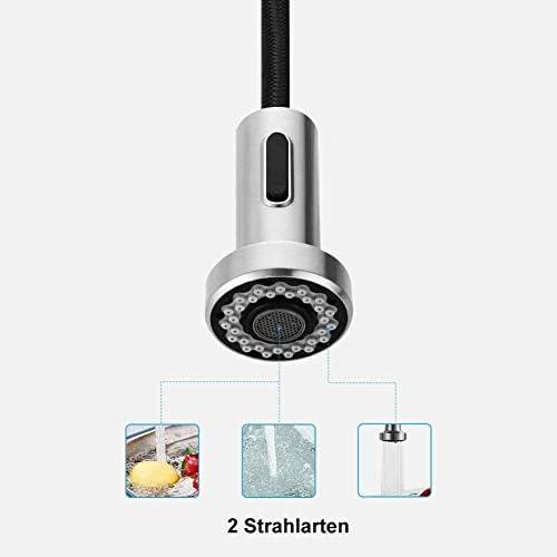 キッチン螺旋伸張可能な伸縮スプレーハンドシャワーステンレス製シンクを蛇口の蛇口黒雄鶏スプリング美しいキッチン,黒