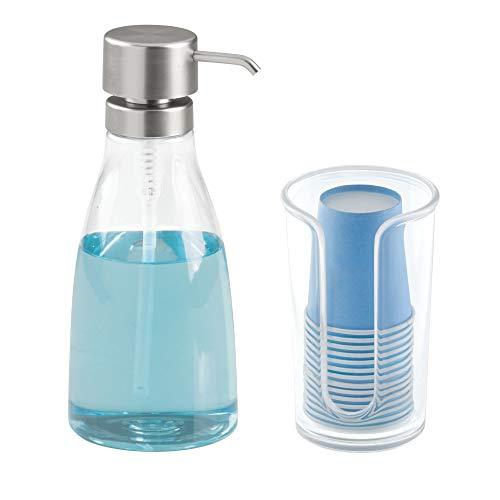 mDesign Bathroom Accessory Set, Mouthwash Dispenser Pump, Cu