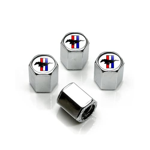 Ford Mustang Tri-bar Logo Chrome Tire Stem Valve Caps, Official Licensed by Mustang delicate