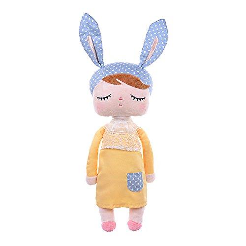 JGOO Cuddly Soft Stuffed Plush Angela Girl Bunny Rabbit Sleeping Baby Dolls Wearing Lace Yellow Skirt ,Cushion Pillow Kids Gift 13.4 Inch