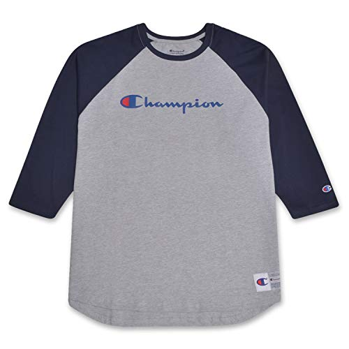 Champion Mens Big and Tall Raglan Baseball T Shirt with 3/4 Sleeve and Big C Logo Heather Grey/Navy L Tall