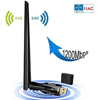 USB Wifi Adapter 1200Mbps, ANEWISH Wireless Adapter USB3.0 Dual Band 11ac(2.4GHz/300Mbps 5GHz/867Mbps)Network Lan Card Dongle for PC Desktop Laptop, ...