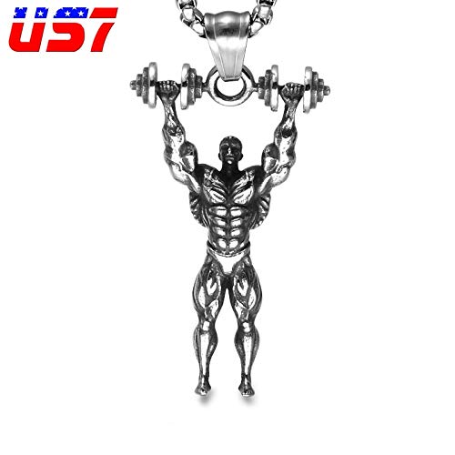 Metal Color: Silver Davitu US7 Fitness Dumbbells Punk Vintage Pendant /& Necklaces Stainless Steel Sport Bodybuilding Men Charm Necklace for Men Gym Jewelry