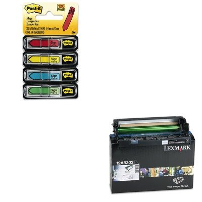 KITLEX12A8302MMM684SH - Value Kit - Lexmark 12A8302 Photoconductor Kit (LEX12A8302) and Post-it Arrow Message 1/2amp;quot; Flags (MMM684SH)