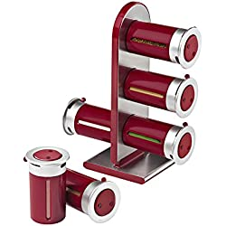 Zevro KCH-06097 Zero Gravity Countertop Magnetic Spice Rack with Canister, Red/Silver - Set of 6