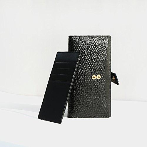 Galaxy Note 8 Case, DesignSkin [WALLET PLUS]: 2 in 1 Set Folio Flip Cover Case With Removable Card Holder Snap Closure 100% handmade Genuine Leather Unique Protective Cash Pocket Slot Storage (Black) by DesignSkin (Image #1)